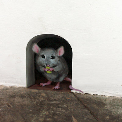 Mousehole wall sticker/ decal door, cute vinyl art, mouse hole, mural, funny