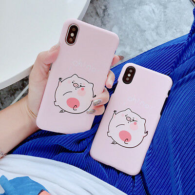 Kawaii Pig Pattern Case For iPhone 6 6s 7 8 Plus X Matte Hard PC Back Cover Gift
