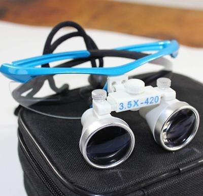 3.5X Dental Surgical Binocular Loupes Magnifier with Case Blue Color UK STOCK