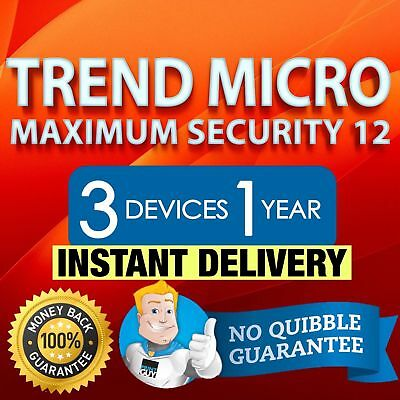 Trend Micro Maximum Security 12 - 2019 1 Year 3 Devices Windows Mac Android iOS