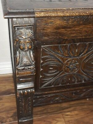 Antique Georgian English Carved Solid Oak  Chest Blanket Box Coffer