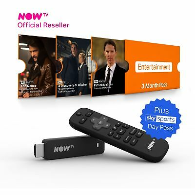 NOW TV Smart Stick PRE-INSTALLED 3 Month Entertainment Pass+Sky Sports Day Pass