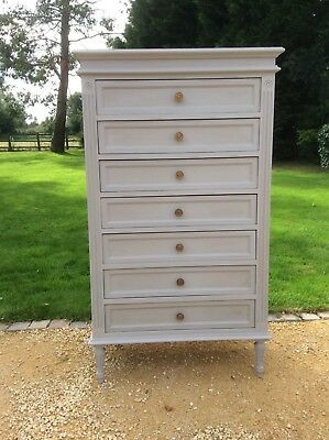 Vintage Antique French Semainier Tallboy Painted Chest drawers Louis XVI style