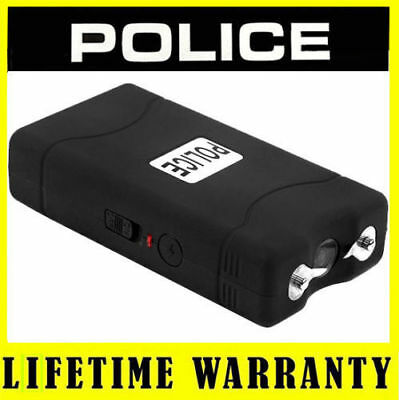 POLICE BLACK Stun Gun 800 50 BV Rechargeable LED Flashlight + Taser Case