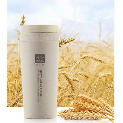 Wheat Straw Portable Thermal Bottle Insulated Travel Water Mug Cup Gift N7