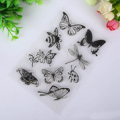 Seal Paper Transparent Clear Butterfly And Bee Rubber Stamp Craft Scrapbooking