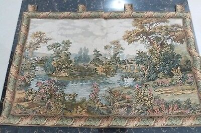 Antique 19c Aubusson French Tapestry Beautiful Color River View Cm 74×122