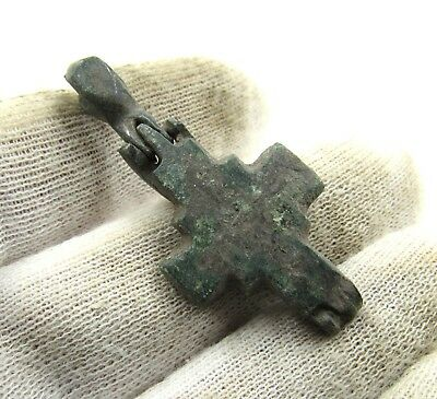 Authentic Medieval Crusaders Era Bronze Reliquary Cross - H71