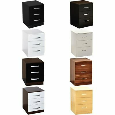 Riano Hulio 3 Drawer Bedside Cabinet Chest High Gloss Bedroom Storage Furniture