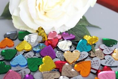 3 cm Personalised Wedding Mirror Hearts Table Confetti Decorations Mini Favour