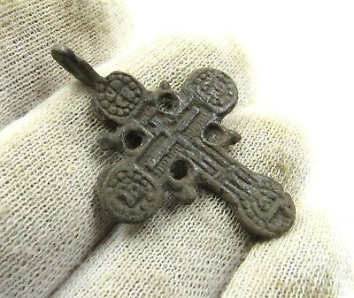 Authentic Late Medieval Bronze Radiant Cross Pendant - Wearable - H78