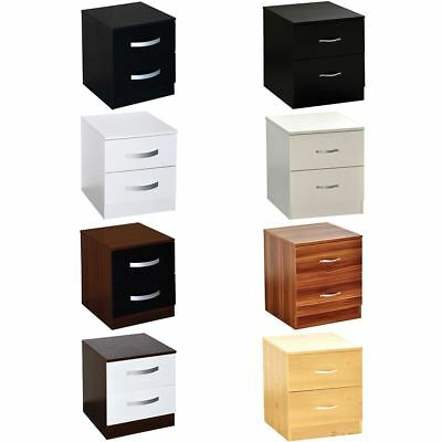 Riano Hulio 2 Drawer Bedside Cabinet Chest High Gloss Bedroom Storage Furniture