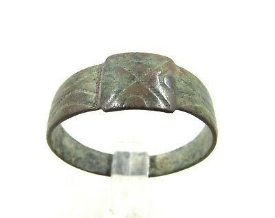 Authentic Medieval Crusaders Era Bronze Ring W/ Cross - H80