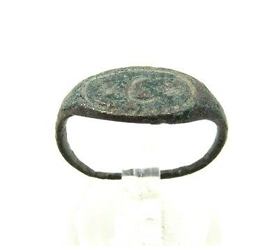 Authentic Medieval Crusaders Bronze Ring W/ Moon Crescent - Wearable - H85