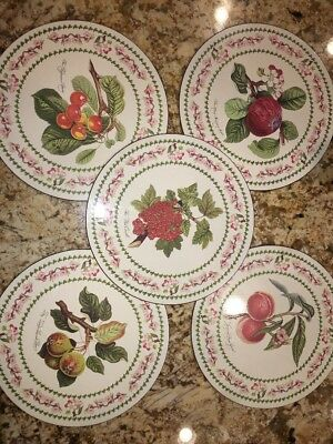 5 Portmeirion,Cork Backed  Round Placemats Fruit