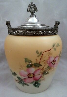 Antique Mt Washington Glass Biscuit, Cracker Jar, Hand-Painted, Silver Plate Lid