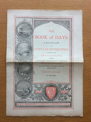 Antique The Book of Days Advertising Leaflet, R Chambers, C. 1860s, English Lore