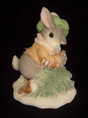 My Blushing Bunnies~Wintertime Blessings~Bunny with Christmas Tree & Bird~w/Box