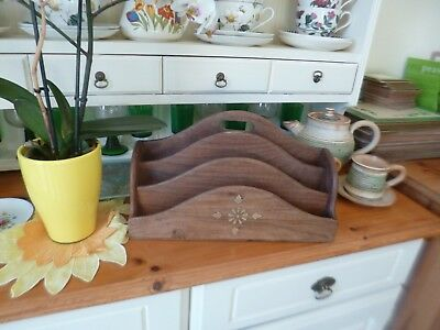 Gorgeous Large Vintage Solid Beech Letter Rack with Inlaid Brass
