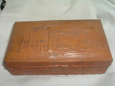 Antique Oriental Trinket Jewelry Box Hinged Lid w Raised Pagoda Wood Lined