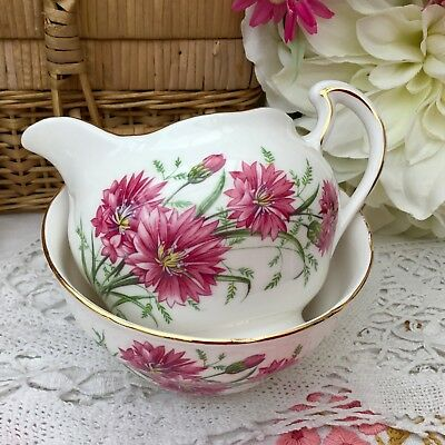 ROYAL VALE 1960s MILK JUG & SUGAR BOWL PINK CORNFLOWER FLORAL GILDED BONE CHINA