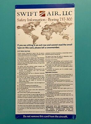 Swift Air Charter Safety Card - 737-300