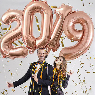 Year Gold/Silver/Rose Gifts Inflatable 2019 Number Aluminum Foil Helium Balloon