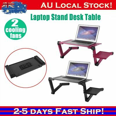 Portable Adjustable Laptop Notebook Desk Table 2 Cooling Fan Mouse holder KE