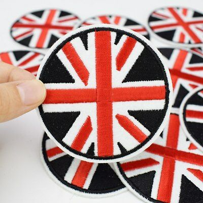 Circle Union Jack Flag Iron Sew On Patch- UK Britain Embroidered Applique Badge