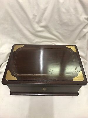 Antique Mahogany Box With Brass Detail & Lock/keys Good Condition