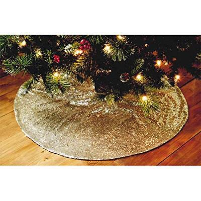 Luxury Christmas Xmas Deluxe Sequin Tree Skirt - Silver