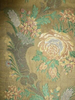 Gorgeous good sized 18th cent table runner, brocade, silk and metal thread