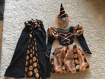 Toddler Girls Halloween Witches Costume - 1-3 Years Old - Dress, Cape & Hat
