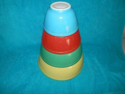Vintage 4 Pyrex Primary Colors Mixing Nesting Bowls 401 402 403 404 Ex Cond
