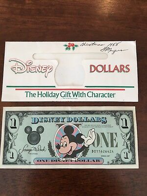 Disney dollar series 1987 serial number D01162642A Mickey Mouse $1