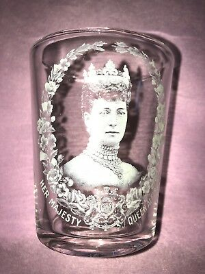 Queen Alexandra  Etched Photo On Thin Walled Drinking Whiskey Glass