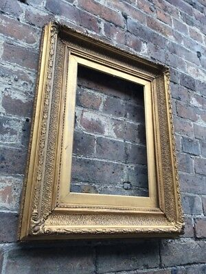 Antique Ornate Gold Gilt & Gesso Wooden Picture Frame c Victorian Large & Chunky