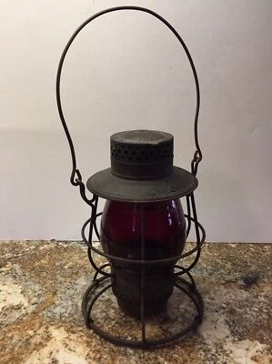Vintage Railroad Lantern W/ Red Cast Globe No.39 Dietz Steel Clad New York Usa
