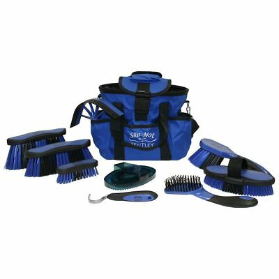 Bentley Equestrian Deluxe Antibacterial Grooming Brushes Horse Cleaning Kit Blue