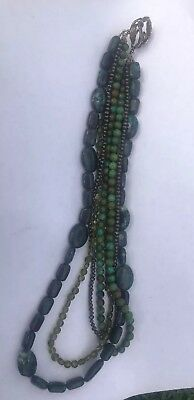 1890's Navajo Indian Old Pawn Sterling Turquiose Trade Beads 96g