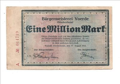 Voerde Bürgermeisterei, 1 Million Mark  17.8. 1923