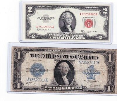 1923 $1 silver certificate FR 238, Horse-Blanket, & 1953 C $2 Real Seal Note lot