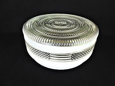 """8"""" Fitter Retro Round Prismatic White & Clear Drum Ceiling Light Glass Shade Fan"""