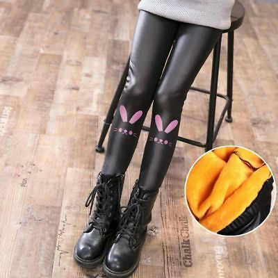 Pants Girls Leggings Kids Children Thicken Leather Solid Clothes Elastic Waist