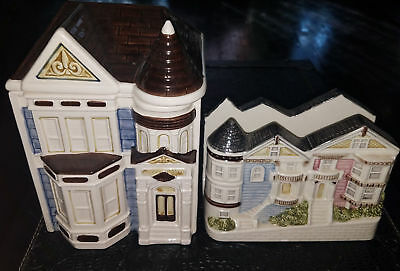 Vintage Otagiri Victorian Turret House Canister Cookie Jar & Napkin Holder