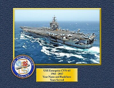USS ENTERPRISE CVN 65  Custom Personalized Print of US Navy Ships Gift