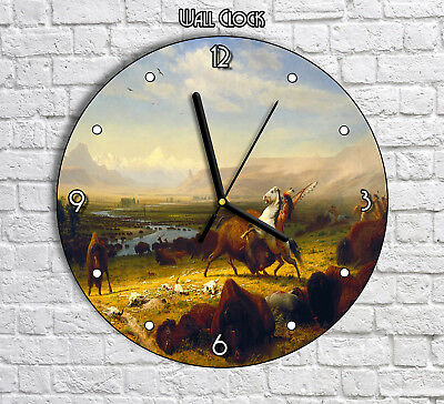 Native American On a Horse Hunting Hunt - Round Wall Clock For Home Office Decor