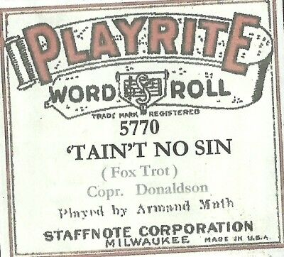 'Tain't No Sin, played by Armand Muth, Playrite 5770 Piano Roll Original