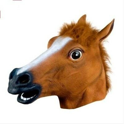 Rubber Horse Head Mask Panto Fancy Party Halloween Adult Costume