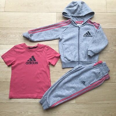 ADIDAS *3-4y GIRLS TRACKSUIT Outfit JACKET HOODIE JOGGERS Sports Top 3-4 YEARS